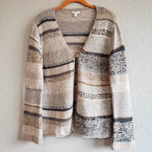 J. Jill | Striped Cotton/Wool Blend Cardigan S EUC